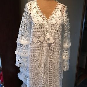Talbots XS Missy white lace beach dress or coverup